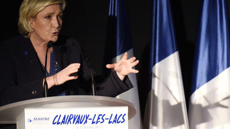 La candidate du Front national à la présidentielle Marine Le Pen, prononce un discours lors d'un meeting tenu à Clairvaux-les-Lacs (Jura), le 17 février 2017. (JEAN-PHILIPPE KSIAZEK / AFP)
