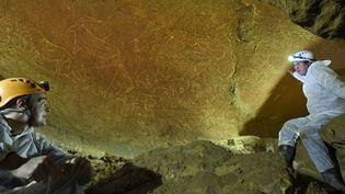 Les spéléologues montrent les spectaculaires gravures datant d'il y a 14000 ans à Lekeitio au Pays basque espagnol.  (HO / Diputacion Foral de Bizkaia / AFP)