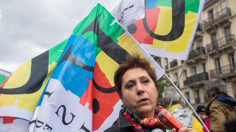 Bernadette Groison, secrétaire générale du syndicat FSU, lors d'une manifestation à Paris en mai 2017. (AURELIEN MORISSARD / MAXPPP)