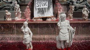 Du colorant rouge ajoutée à l'eau de la fontaine de la Place Royale à Nantes le 30 juillet 2019 après la confirmation du décès de Steve Maia Caniço dont le corps a été retrouvé lundi 29 juillet. (LOIC VENANCE / AFP)