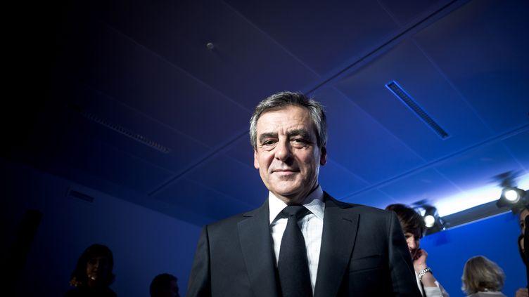 Le candidat de la droite à la présidentielle, François Fillon, lors d'un discours à son QG de campagne, le 8 mars 2017 à Paris. (NICOLAS MESSYASZ / POOL / REA)