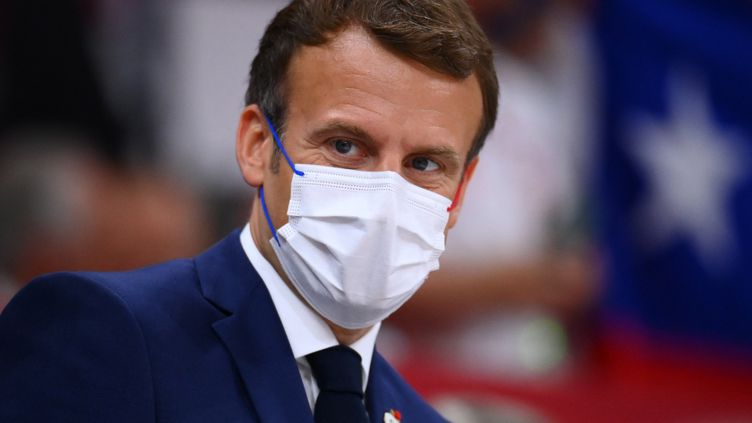 Emmanuel Macron, à Tokyo, le 24 juillet 2021. (FRANCK FIFE / AFP)