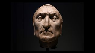 Masque mortuaire de Dante Alighieri,Palazzo Vecchio, Florence, 23 février 2021 (VINCENZO PINTO / AFP)