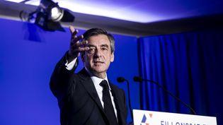 """Le candidat de la droite à la présidentielle, François Fillon lors de sa conférence de presse """"Mon projet pour la France"""", à Paris, le 13 mars 2017. (VINCENT ISORE / MAXPPP)"""
