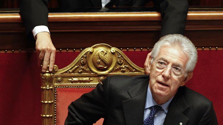 Le Président du conseil italien Mario Monti lors du vote de confiance au Parlement, jeudi 17 novembre 2011 à Rome (Italie). (MR/CK)