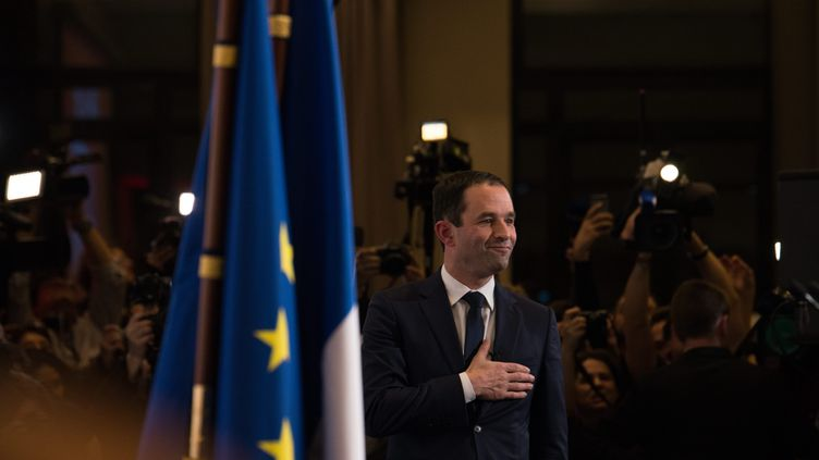 Benoît Hamon au siège du Parti socialiste, après sa victoire à la primaire de la gauche, le 29 janvier 2017. (MAXPPP)