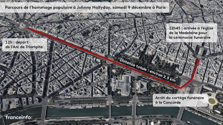 Le parcours de l'hommage populaire à Johnny Hallyday à Paris, le 9 décembre 2017. (FRANCEINFO / GOOGLE MAPS)