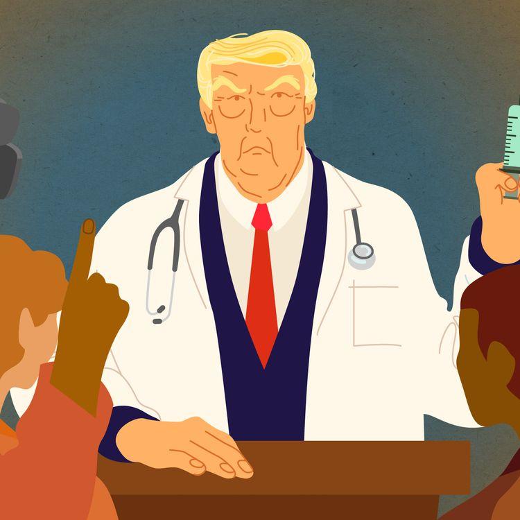 Le président américain, Donald Trump, brandit le vaccin contre le coronavirus comme un argument de campagne électorale. (JESSICA KOMGUEN / FRANCEINFO)