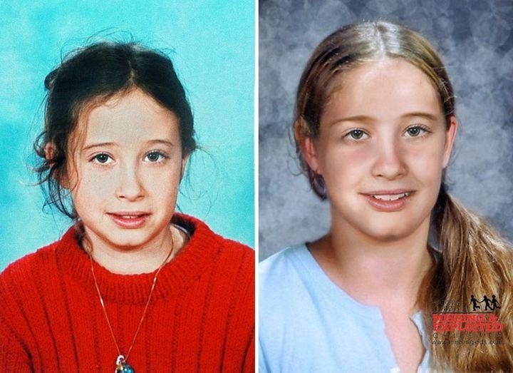 """Une photo d'Estelle Mouzin datant de 2003 et sa photo """"vieillie"""" diffusée lors d'un nouvel appel à témoignage le 19 janvier 2010. (POLICE)"""