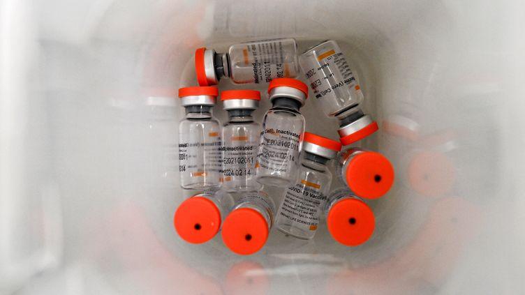 Des fioles du vaccin du laboratoire chinois Sinovac contre le Covid-19, le 15 avril 2021 à Cauca (Colombie). (LUIS ROBAYO / AFP)