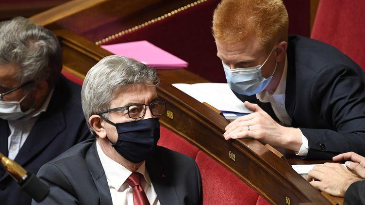 Jean-Luc Mélenchon à l'Assemblée nationale à Paris le 13 octobre 2020, avec le député La France insoumise du Nord Adrien Quatennens (BERTRAND GUAY / AFP)