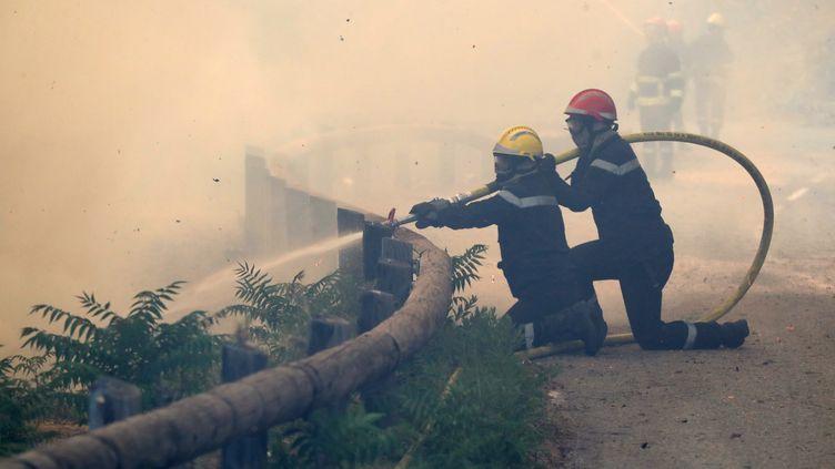 Des pompiers luttent contre l'incendie de Castagniers, près de Nice (Alpes-Maritimes), lundi 17 juillet 2017. (VALERY HACHE / AFP)