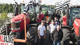 Des agriculteurs et leurs tracteurs rassemblés sur le pont de Morlaix (Finistère), le 1er septembre 2015, avant leur départ pour manifester à Paris. (MAXPPP)