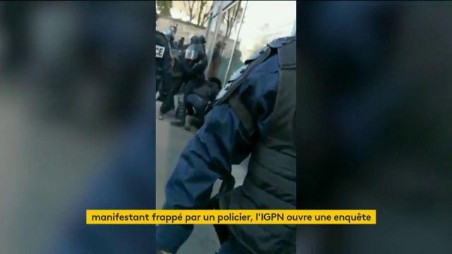 Video manifestant frappé au sol