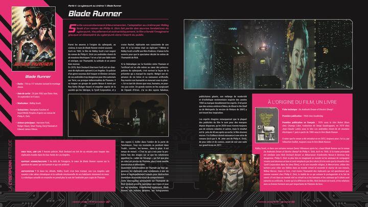 """Double page consacrée au film """"Blade Runner"""" (1982) de Rydley Scott dans""""Cyberpunk - Histoire(s) d'un futur imminent"""" deStéphanie Chaptal, Jean Zeid et Sylvain Nawrocki. (Editions Ynnis)"""
