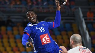Luc Abalo lors du match de championnat du monde de handball masculin 2021 pour la troisième place entre l'Espagne et la France au stade du Caire Sports Hall, en Égypte, le 31 janvier 2021. (ANNE-CHRISTINE POUJOULAT / AFP)
