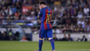 Lionel Messi, le 21 mai, à Barcelone. (JOSEP LAGO / AFP)