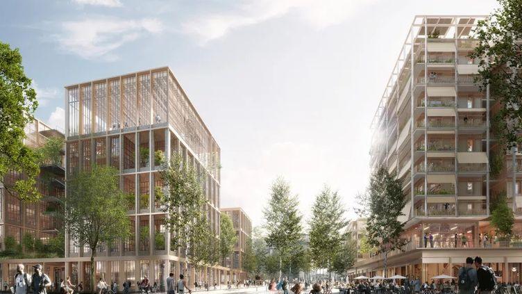 Projet du futur village des athlètes pour les JO 2024 à Paris. (Illustration) (SECTEUR E_Groupement Nexity SA-Eiffage Immobilier IDF)