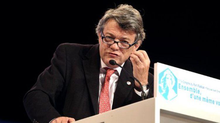 Le président du Parti radical Jean-Louis Borloo prononce un discours à Paris, face à ses militants, le 15 mai 2011. (AFP - Pierre Verdy)