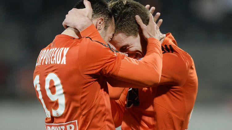 Le joie des Merlus qui se hissent en quart de finale de la Coupe de la Ligue (JEAN-SEBASTIEN EVRARD / AFP)