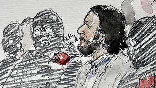 Un dessin de Salah Abdeslam avant l'ouverture de son procès au palais de justice de Bruxelles (Belgique), le 5 février 2018. (BENOIT PEYRUCQ / AFP)