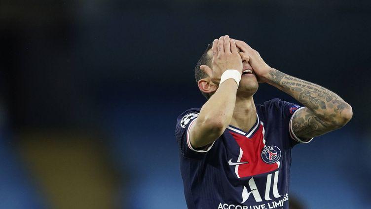 Le joueur du PSG Angel Di Maria, frustré, lors de la défaite du club parisiens sur la pelouse de Manchester City en demi-finale retour de la Ligue des champions, mardi 4 mai 2021. (DAVE THOMPSON / AP / SIPA)
