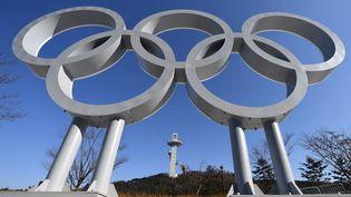 Les anneaux olympiques dans la ville de Pyeongchang (Corée du Sud), le 3 février 2018. (HELMUT FOHRINGER / AFP)