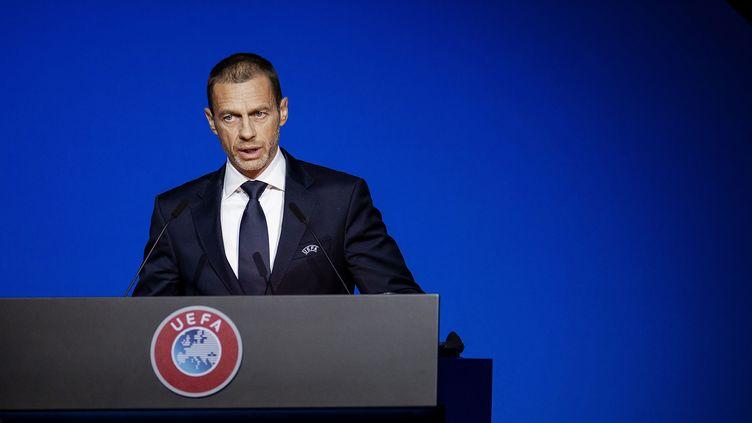 Le président de l'UEFA,Aleksander Ceferin, le 3 mars 2020 à Amsterdam (Pays-Bas). (ROBIN VAN LONKHUIJSEN / ANP)