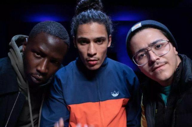 """Le trio central de la série """"Validé"""" : de gauche à droite Saïdou Camara, Clément Hatik et Brahim Bouhlel. (MIKA COTELLON / CANAL+)"""