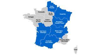 Les noms des nouvelles régions françaises, choisis par les lecteurs de francetv info, lors d'un vote clôturé le 5 novembre 2015. (MATHIEU DEHLINGER / FRANCETV INFO)