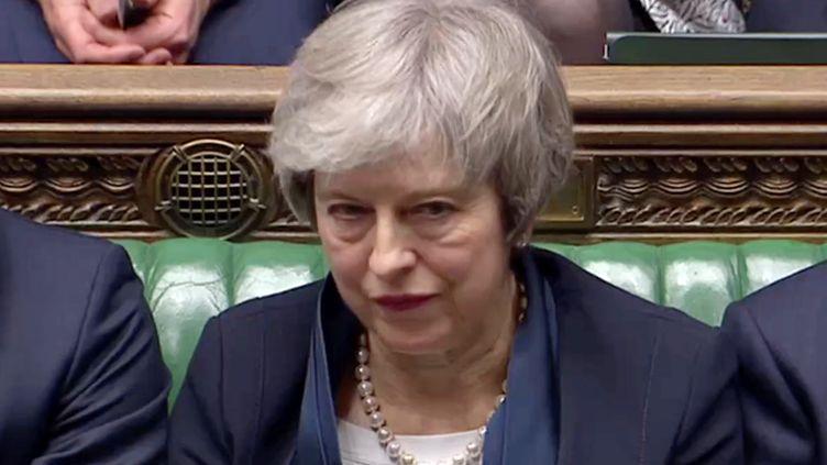 La Première ministre britannique Theresa May après le rejet en masse, le 15 janvier 2019, del'accord sur le Brexit par les députés. (REUTERS TV / REUTERS)