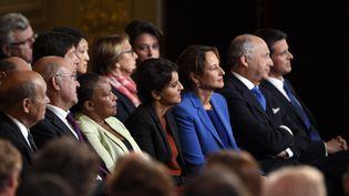Ségolène Royal (en 3e position en partant de la droite), lund i7 septembre lors de la conférence de presse de François Hollande à l'Elysée. (ALAIN JOCARD / AFP)