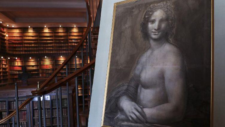 """""""Mona Vana"""" ou """"La Mona Lisa nue"""" dessin au charbon de bois réhaussé de mine de plomb blanc issue de l'atelier de Léonard de Vinci, voire exécuté de sa main, sera exposé au domaine de Chantillydu 1er juin au 6 octobre 2019  (KENZO TRIBOUILLARD / AFP)"""