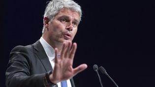 Le candidat à la présidence des Républicains, Laurent Wauquiez, lors d'un meeting à Jonage (Rhône), le 23 mai 2017. (ROMAIN LAFABREGUE / AFP)