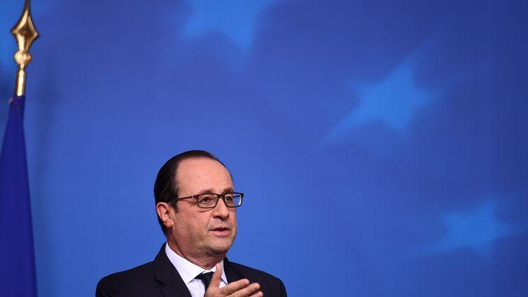 François Hollande, lors d'un sommet du Conseil européen à Bruxelles (Belgique), le 18 décembre 2014. (EMMANUEL DUNAND / AFP)