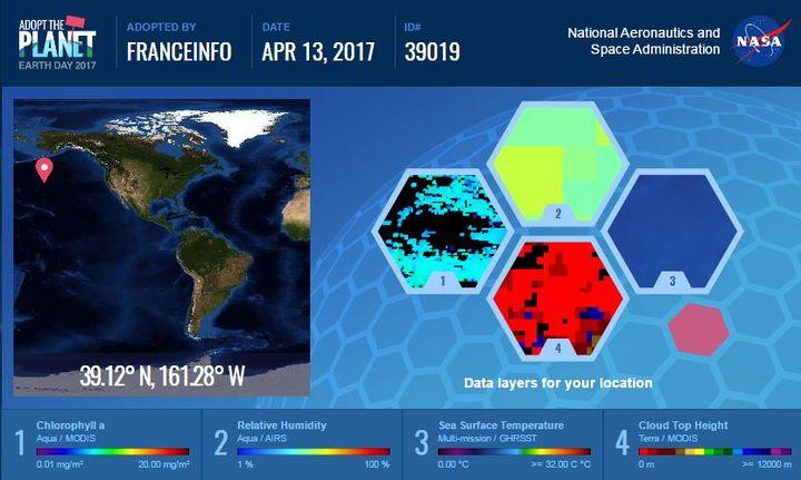 """Capture d'écran du site """"Adopt the planet"""" de la Nasa qui permet de devenir propriétaire (virtuel) de petits morceaux de la planète. (NASA)"""
