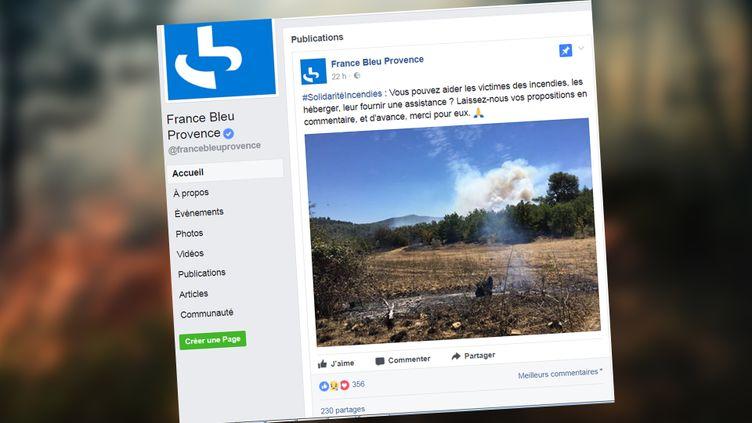 France Bleu Provence lance un appel à la solidarité pour les sinistrés des incendies dans le Sud-Est, en juillet 2017. (CAPTURE D'ÉCRAN / FACEBOOK FRANCE BLEU PROVENCE)