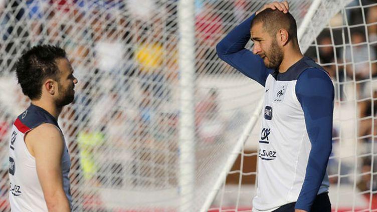Mathieu Valbuena et Karim Benzema durant un entraînement de l'équipe de France