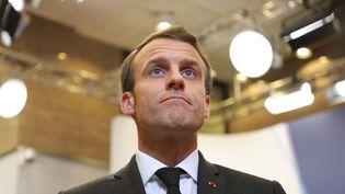Le président de la République, Emmanuel Macron, le 22 mars 2019 à Bruxelles (Belgique). (LUDOVIC MARIN / AFP)