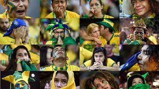 Mosaïque de supporters brésiliens après la défaite de leur équipe face à l'Allemagne en demi-finale, le 8 juillet 2014, à Belo Horizonte (Brésil). (AFP)