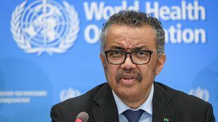Le directeur général de l'OMSTedros Adhanom Ghebreyesuslors d'une conférence de presse au siège de l'OMS à Genève (Suisse), lundi 24 février. (FABRICE COFFRINI / AFP)