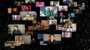 """Les candidats ont interprété """"Love Shine a Light"""" depuis chez eux, le 16 mai 2020. (EUROVISION / EBU / FRANCE 2)"""