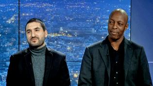 """Ibrahim Maalouf et Oxmo Puccino sur le plateau du Grand Soir 3, venus présenter leur album """"Au Pays d'Alice""""  (France 3 / Culturebox)"""