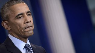 Barack Obama lors d'une conférence de presse à la Maison Blanche, à Washington (Etats-Unis), le 18 janvier 2017. (BRENDAN SMIALOWSKI / AFP)