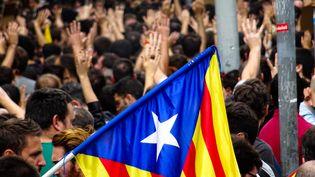 Manifestation pour protester contre les violences policières durant le référendum d'indépendance de la Catalogne, à Barcelone, le 3 octobre 2017. (NICOLAS CELNIK / CITIZENSIDE)