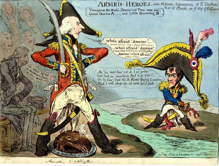"""""""Armed heroes"""",James Gillray,Eau-forte coloriée publiée le 18 mai 1803,Coll. musée de l'Histoire vivante, Montreuil (Musée de l'Histoire vivante)"""