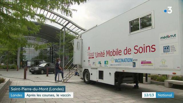 """Covid-19 dans les Landes : un """"vaccibus"""" près d'un centre commercial pour recevoir une injection sans rendez-vous"""