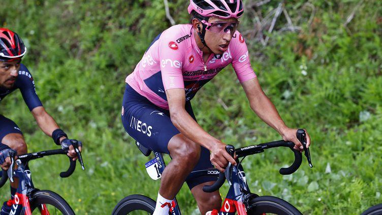 Egan Bernal sur la 14e étape du Giro, le 22 mai 2021. (LUCA BETTINI / AFP)