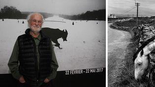 """Josef Koudelka devant l'affiche de l'exposition """"La fabrique d'Exils"""" au Centre Pompidou. A droite, sa photo """"Irlande"""", 1972, Collection Centre Pompidou, Paris, Don de l'artiste 2016  (A gauche © photo Ginies / SIPA - A droite © Josef Koudelka / Magnum Photos © Centre Pompidou / Dist. RMN-GP)"""