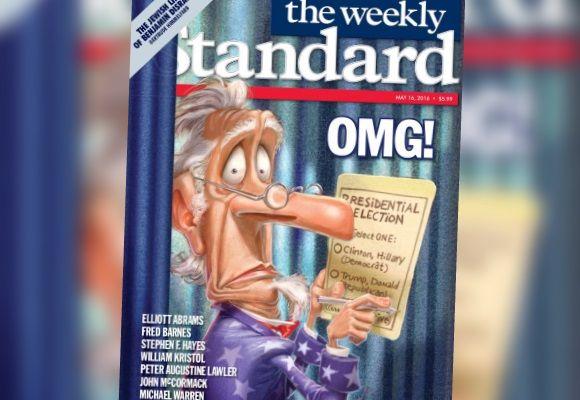 """La couverture d'un numéro du """"Weekly Standard"""" de mai 2016, où est représenté un électeur américain, déconcerté par son bulletin de vote où figurent Hillary Clinton et Donald Trump. (WEEKLY STANDARD)"""